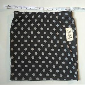 NWT XXI grey polka dot mini skirt size small F21